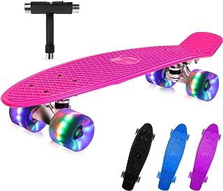 BELEEV Skateboard 22 inch Completo Mini Cruiser Skateboard per Bambini, Giovani e Adulti, Ruote con all-in-One Skate T-Too...