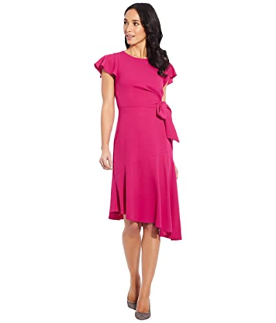 Adrianna Papell Plus Size Divine Crepe Tie Dress (Bright Azalea) Women