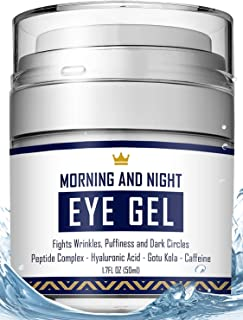 Eye Cream - Dark Circles & Under Eye Bags Treatment - Reduce Puffiness, Wrinkles - Effective Anti-Aging Eye Gel with Hyaluronic Acid, Gotu Kola Extract and Caffeine - Refreshing Serum