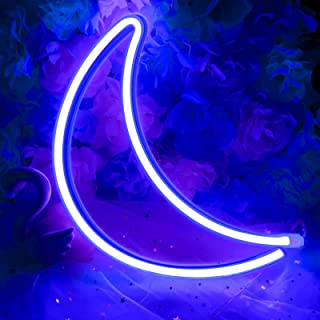 XIYUNTE Moon Light Moon Neon Lights Blue Signs Wall Light Battery or USB Operated Moon Neon Light Signs Light up for The H...