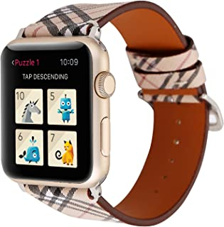 Compatible with Apple Watch Band 38mm 40mm 42mm 44mm,Luxury Designer Soft Leather Watch Band Replacement Wrist Strap Compatible for iWatch Series 6/5/4/3/2/1 SE