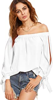 SheIn Women's Off Shoulder Slit Sleeve Tie Cuff Blouse Top