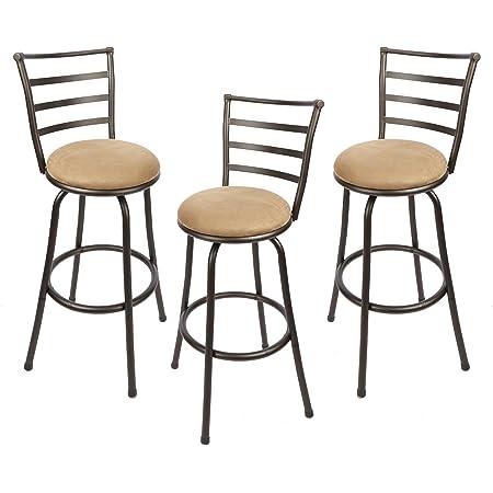 Adjustable Height Swivel Barstool Hammered Bronze Finish Set Of 3 Furniture Decor