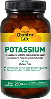 Country Life Potassium Supplement, 99mg, 250-Count, Potassium Amino Acid Chelate, Promotes Healthy Nerves & Muscles, Glute...