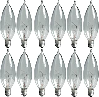 GE Lighting Crystal Clear 24782 40-Watt, 370/280-Lumen Bent Tip Light Bulb with Candelabra Base, 12-Pack