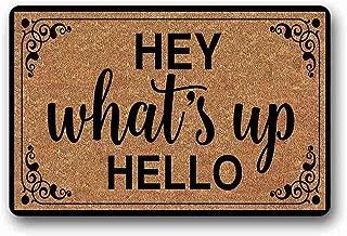 SHUNLEI Entrance Floor Mat Funny Doormat Hey What's Up Hello Door mat Decorative Indoor Outdoor Doormat Non-Woven Fabric Top 30