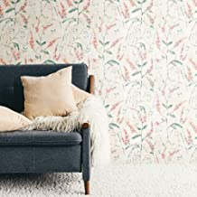 RoomMates Floral Sprig Coral Peel and Stick Wallpaper