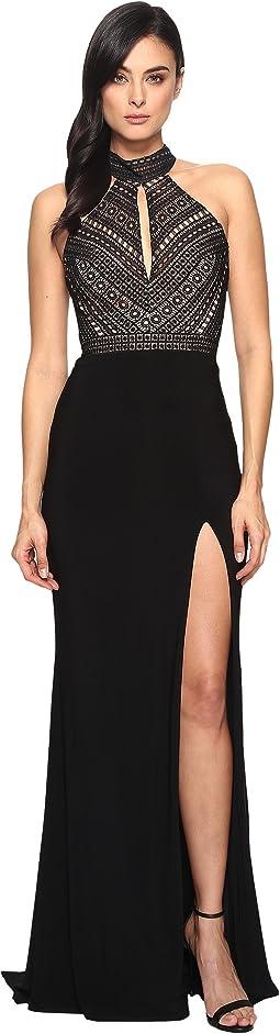 Faviana Lace Halter w/ Keyhole & Jersey Skirt S7932