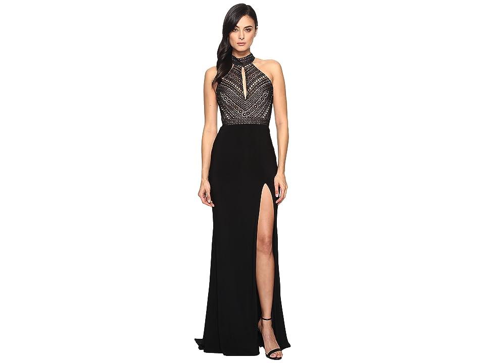 Faviana Lace Halter w/ Keyhole Jersey Skirt S7932 (Black) Women