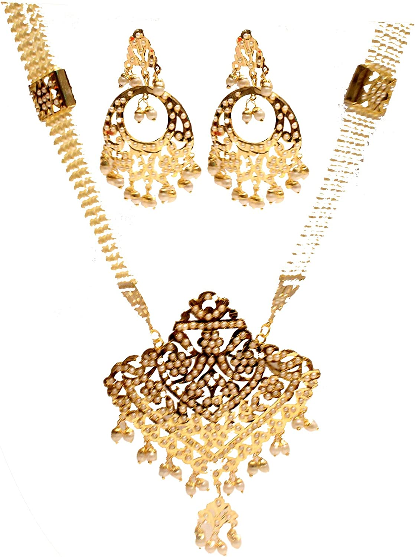 Long Necklace Set Rani Haar Gold Bridal Indian Jewelry Jadau Bollywood Muslim Necklace Punjabi Jewellery Set
