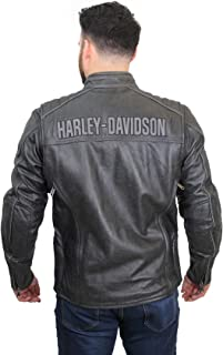 Harley-Davidson Mens Midway Distressed with Reflective Piping Charcoal Leather Jacket 98108-16VM