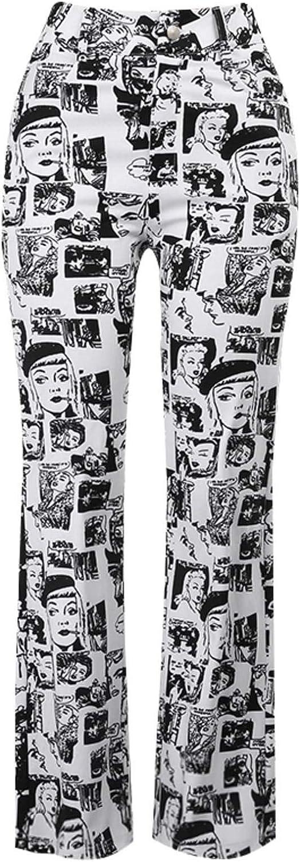 N-brand Streetwear Gothic Comic Print Black Pants Y2K High Waist Flared Pants Harajuku Fashion Women Pocket Trousers