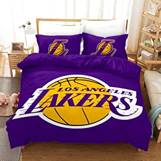 Factory Price Purple Gold Los Angeles Lakers Basketball Comforter Set Full For Boys Teens, 3-Pieces Sports Bedding Comfort...