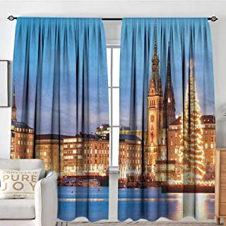 Bedroom Blackout Curtain Panels Winter,Hamburg Germany Old Town Hall with Christmas Tree Historical Architecture, Blue Orange Brown,All Season Thermal Insulated Solid Room Drapes 84