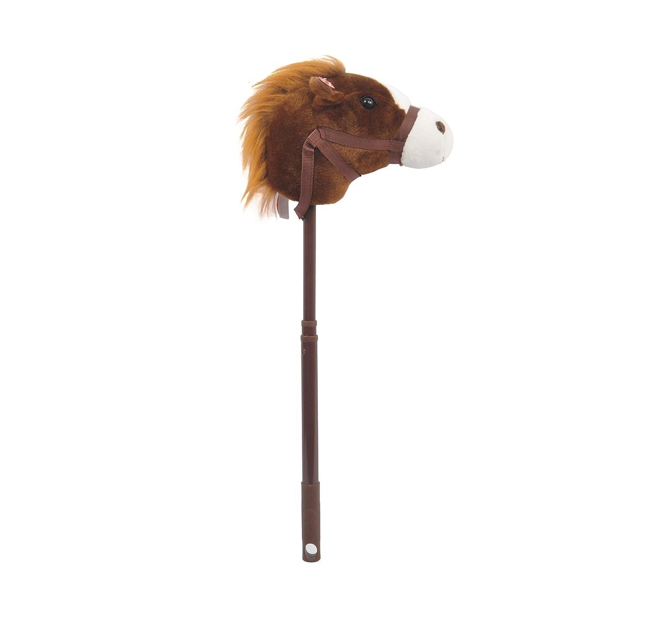 Linzy Plush Adjustable Horse Stick with Sound, Dark Brown, 36