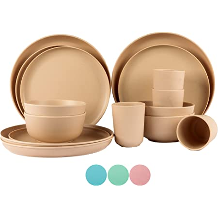 BAMBOO LAND Set for 4 person (16 PCS) /bamboo fiber dinnerware dishwasher safe, reusable bamboo dinnerware, dorm dishware set, travel bowl and plate set, Picnic Party, BBQ, Wedding gift (Khaki)