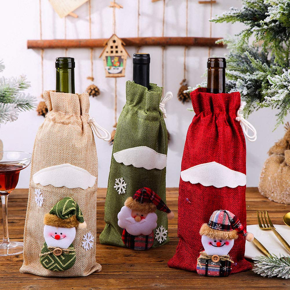 Kylewo Bolsas de Vino de Navidad, Botellas de Vino Tinto de Navidad, Bolsas de Tapa, Bolsa de Vino, Bolsa de Vino, botín: Amazon.es: Hogar