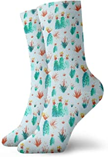 AEMAPE, Cactus Succulents Calcetines cortos deportivos clásicos de ocio adecuados para hombres Mujeres-CG