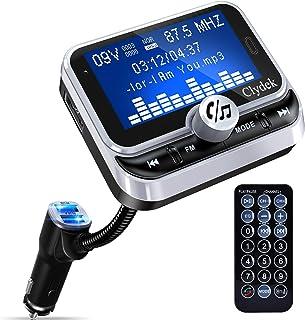 Bluetooth FM Transmitter Auto, Clydek Car Charger Adapter mit 1,8 Zoll Display und Fernbedienung, 4 Musikwiedergabemodi, QC3.0 Schnellladegerät, Freisprechfunktion, AUX Eingang und  Ausgang