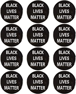 Juvale 12-Pack of Black Lives Matter Pins - BLM Pride Lapel Pins, Iron Buttons, Black - 3 Inches Diameter