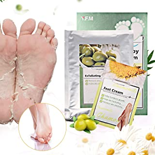Foot Peel Mask - LuckyFine Chamomile Foot Peeling Mask,Exfoliating Calluses and Dead Skin Remover,Repair Rough Heels, Contains Moisturizing Foot Cream, Get Soft Foot