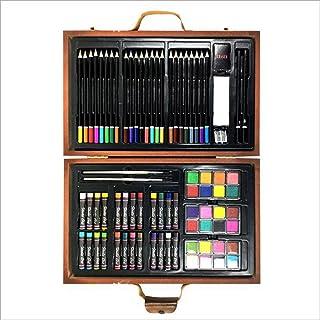 お絵かきセット 水性色鉛筆, イーゼルペイントブラシペイントと木製ボックスは、クレヨン水彩ペン実用的な絵画アートを設定します。 プレゼントギフト 軽量・写生・塗り絵・スケッチ (色 : 褐色)