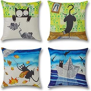 Artscope 4 Pack Funda de Almohada Poliéster Lino para Cojín Cuadrado,Funda de Cojín 45 x45 cm Decorativo para Hogar Sofá Cama (Gato Negro de Dibujos Animados)