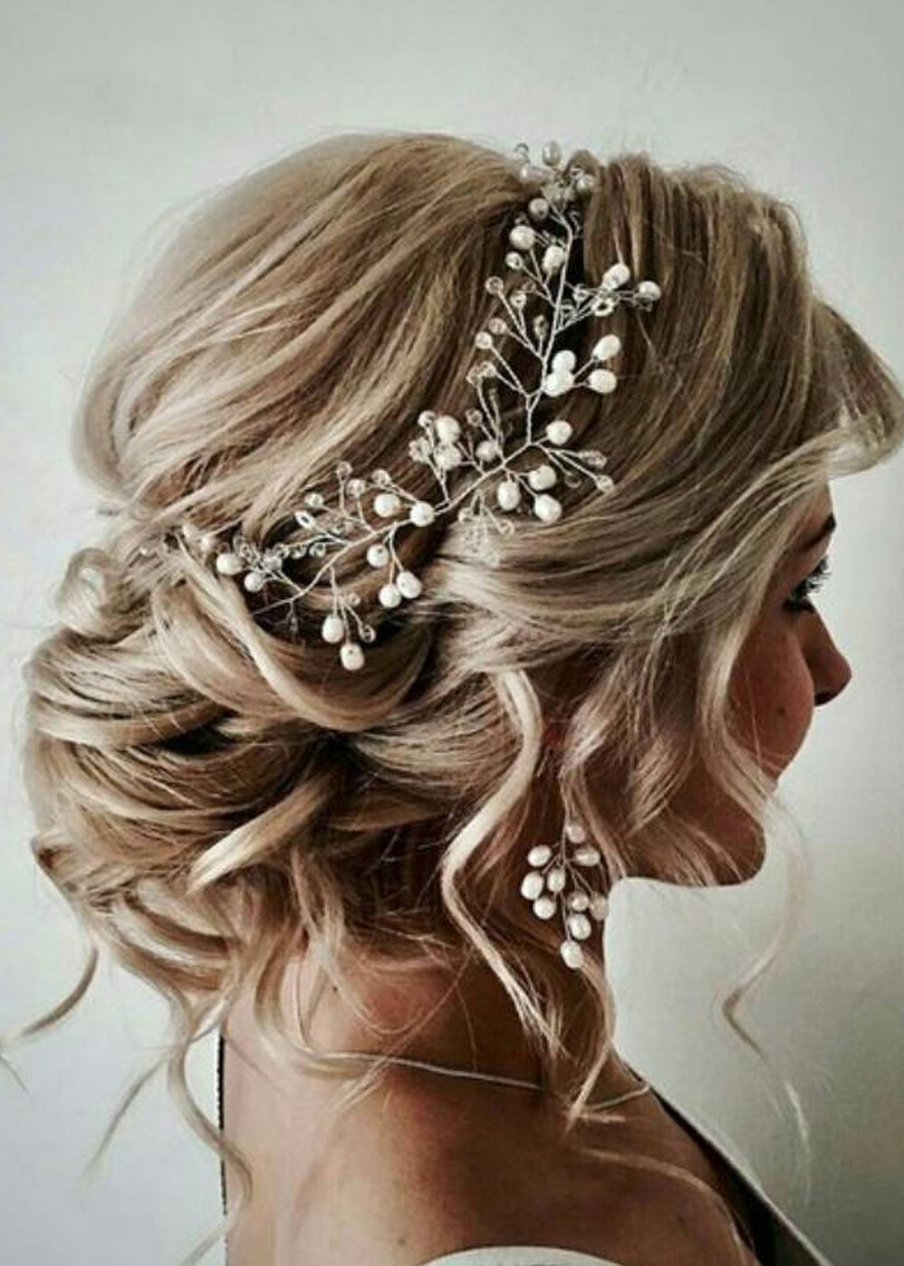 Yean Wedding Long Hair Vine Flower Silver Bridal Headband for Bride and 100cm