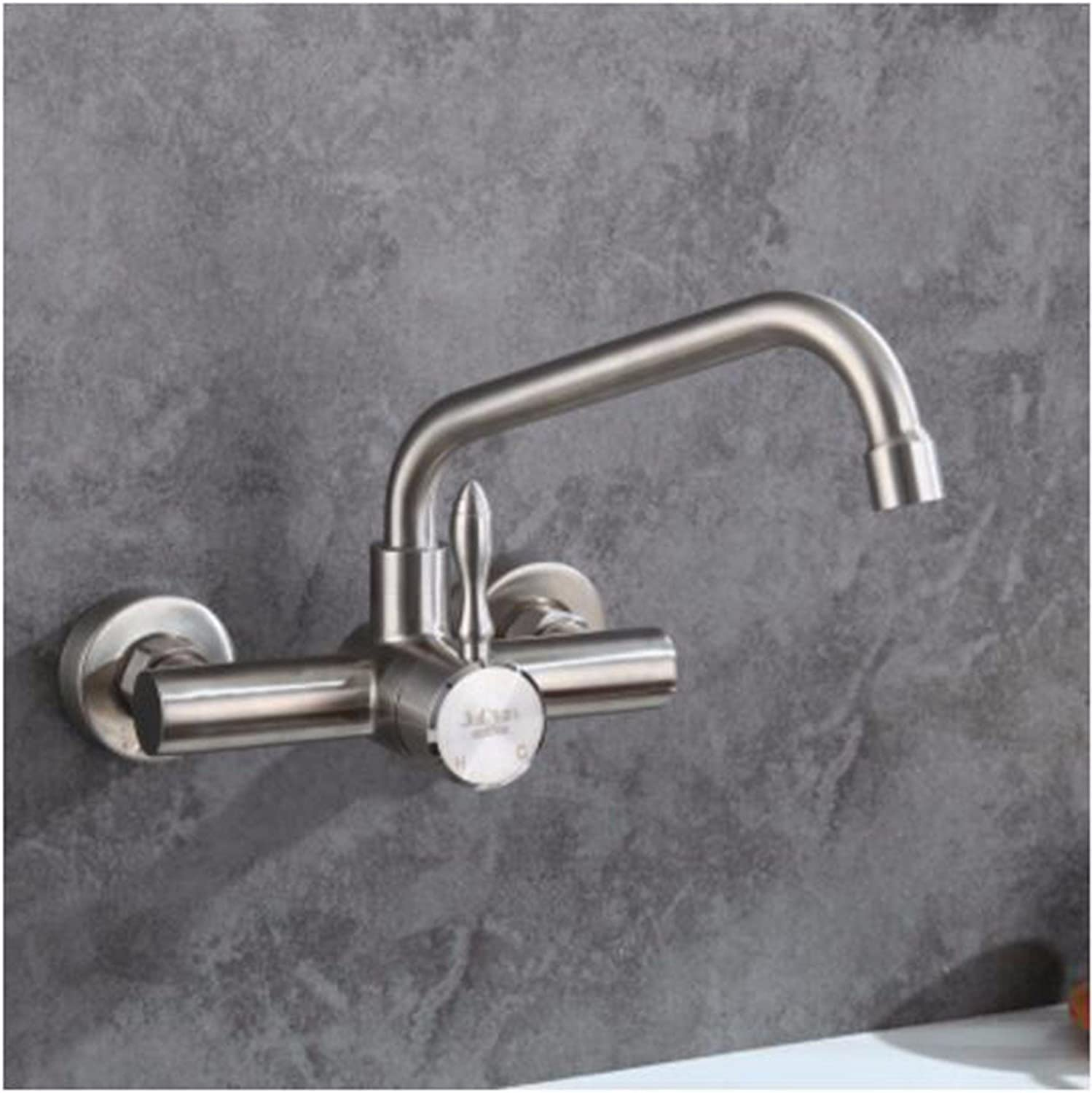XJTNLB 304 stainless steel wall type hot and cold water faucet sprinkler two function kitchen kitchen pots double sink balcony laundry pool,A