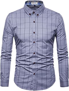 MUSE FATH Mens Long Sleeve Plaid Classic Shirt-Easycare Cotton Shirt