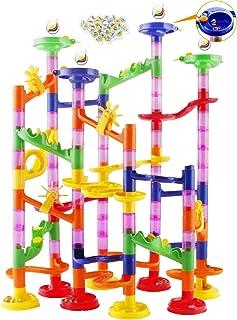 Tebrcon ビーズコースター 知育玩具 スロープ ルーピング セット 子供 組み立て ブロック DIY 立体 パズル 男の子 女の子 誕生日のプレゼント ビー玉転がし おもちゃ 積み木