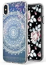 Mandala Case for iPhone Xs/iPhone X,Ecute Soft Slim Flexible Clear Style Hard Back Covers Cases for iPhone Xs (2018)/for iPhone X (2017) - Dreamlike White India Mandala