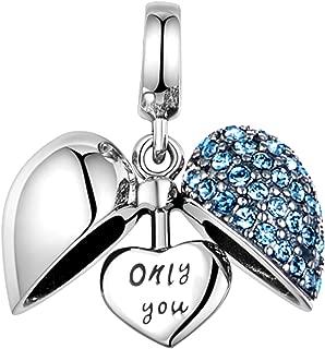 925 Sterling Silver Love Heart Charms Fit Pandora Bracelets