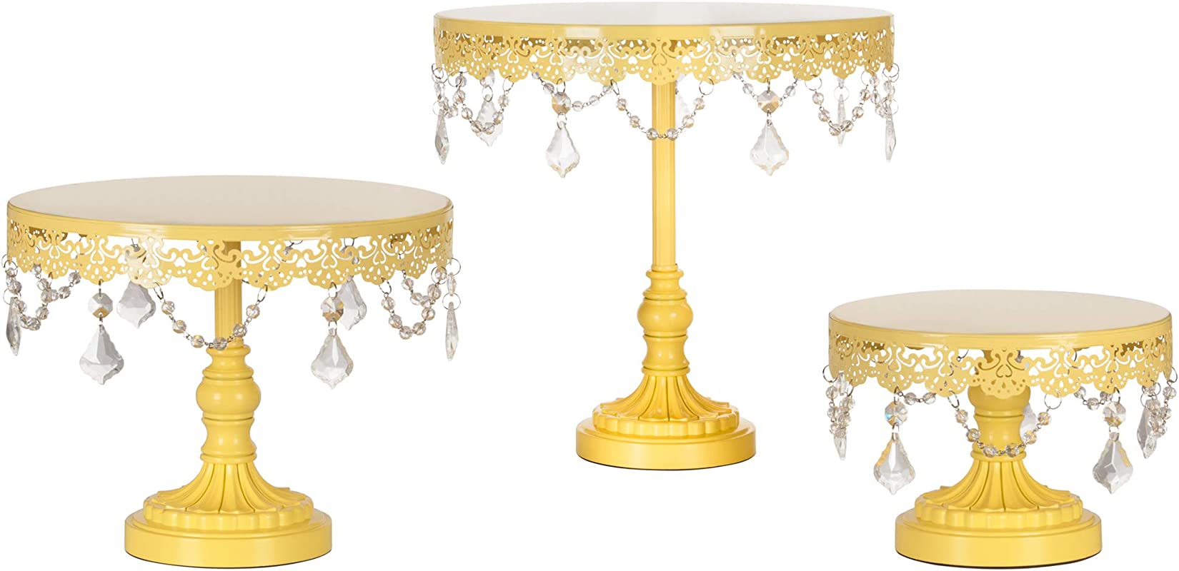 Amalfi Decor Cake Stand Set Of 3 Pack Dessert Cupcake Pastry Candy Display Plate For Wedding Event Birthday Party Round Metal Pedestal Holder With Crystals Yellow