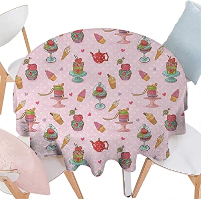 Ice Cream Patterned Round Tablecloth Retro Style Cupcakes Teapots Candies Cookies on Polka Dots Vintage Kitchen