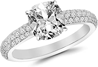 2 Ctw 14K White Gold Classic Triple Row Diamond Engagement Ring (1.5 Ct F Color VS2 Clarity Cushion Cut Center)