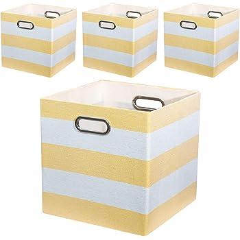 Posprica Cajas de Almacenaje de Tela, Cubos Organizadores Plegables - 28 x 28 x 28 cm,Set de 4,Rayas Amarillas: Amazon.es: Hogar
