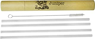 Juniper Glass Drinking Straws Set of 4, Cleaning Brush, Green Packaging, Perfect for Cocktails