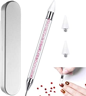 Nail Rhinestone Picker Dotting Tool with Extra 2 Wax Head، Dual-end DIY Nail Art Tool with a pink acrylic