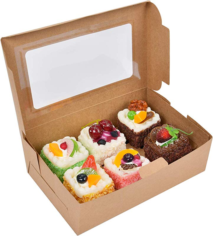 Cupcake Boxes Food Grade Kraft Bakery Container Cookie Holder With Inserts And Display Windows Fits 6 Cupcakes 15 Packs