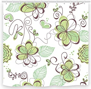 UNIFEEL Yellow Green Brown Beautiful Flowers and Leaves Fabric Shower Curtain Light Color Bathroom Decoration Curtain
