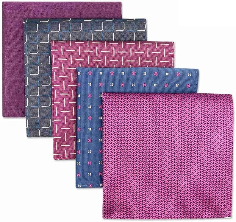 GYZCZX 5 Pieces Colorful Assorted Mens Pocket Square Silk Classic Handkerchief Set Gift Colorful (Color : B, Size : 32x32CM)