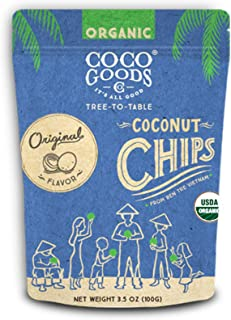 CocoGoodsCo Vietnam Single-Origin Organic Toasted Coconut Chips Original (Pack of 2)