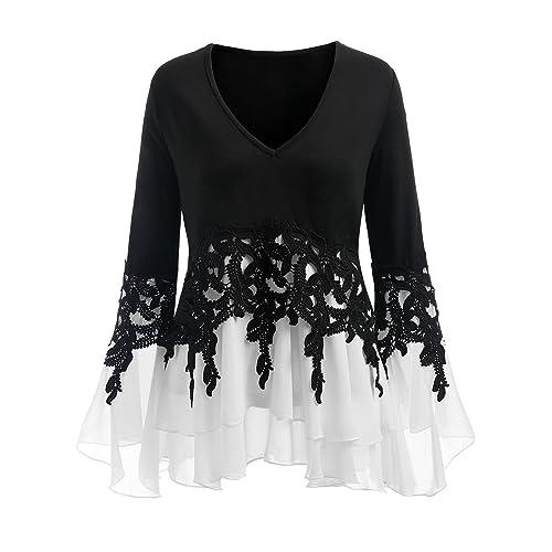 793fec657c061 CharMma Women s Plus Size V Neck Bell Sleeve Crochet Chiffon Insert Blouse
