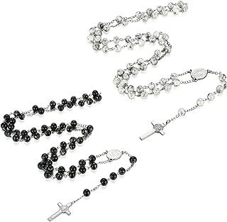 Flongo Collana di Cristo Rosario Ematite Pietra Nera Perline Ciondolo Croce Lunga Perline Collana Terrasanta