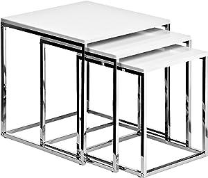 Premier Housewares Set di 3 tavolini da salotto con telaio cromato, 42 x 40 x 40 cm, colore: Bianco lucido