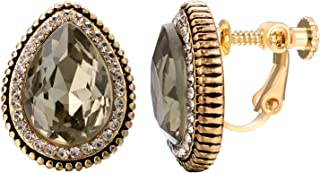 Bridal Crystal Diamond Rhinestone Clip on Earrings For Women 18k Rose Gold Plated Non Pierced Earrings