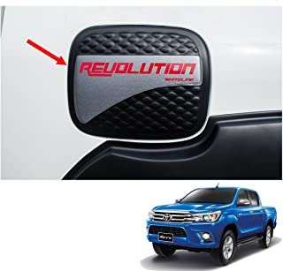 Powerwarauto Fuel Tank Oil Cap Cover Black Kevlar Trim For Toyota Hilux Revo SR5 4 Dr