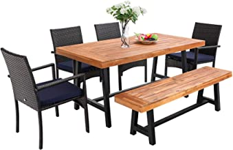 PHI VILLA 6 PCS Outdoor Patio Dining Set with 1 Premium Acacia Wood Table,4 Rattan Cushioned Chair and 1Wooden Bench Furni...