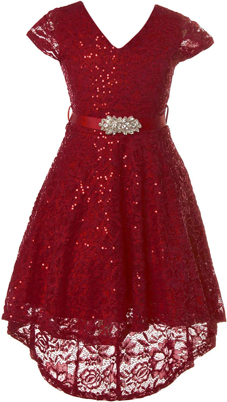 BluNight Collection Big Girl Dress Cap Sleeve Floral Lace Sequin Hi lo Wedding Flower Girl Dress USA